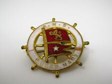 Vintage Collectible Pin: RMS Queen Mary Flag Nautical Ship Helm Design