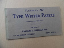 c.1905 Type Writer Papers Sample Book Edward J Merriam Co Typewriter Antique VG