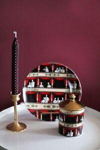 Fornasetti Retro Vintage Ceramic Jar with Lid & Plate Italian Opera House Decor