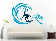 "Large Surfing Surfer Surfboard Surf Wall Vinyl Decal / 70"" X 48"" (Color Choice)"