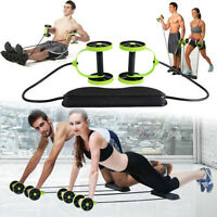 Double Wheels Abdominal Fitness AB Roller Pull Rope Exercise Training Equipment