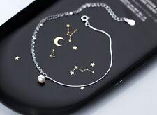 "Women Dangle Natural Pearl 925 Sterling Silver Chain Anklet Bracelet 8.25-9.5"""