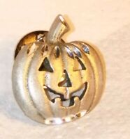 Vintage Halloween Pewter Pumpkin Lapel Pin Hat Tie Tac Holiday Jack-o-Lantern 🎃