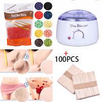 Wax Warmer Heater Pot Machine Kit +300g Waxing Beans+100pcs Hair Removal Sticks