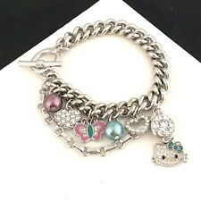 Hello Kitty Charm Bracelet Silver Tone Crystals Enamel Simulated Pearl 9P