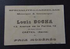 Carte de visite Louis DOCHA céramique mosaïque CRETEIL old visit card