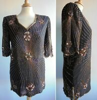 Vintage 80s Heavily Beaded Silk Top Blouse Party 20s Great Gatsby Inspired UK 12
