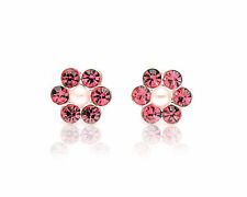 925 Sterling Silver Pretty Red Flower Earrings with Pearl  for Children/Adults