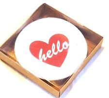 "New listing New 4"" Red & White Heart Dish ""Hello"" Nib"