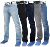 Enzo Mens Straight Leg Jeans Regular Fit Cotton Denim Pants Trousers Free Belt