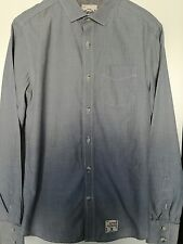 VINTAGE SUPERDRY LONG SLEEVED COTTON SHIRT GREY SIZE MEDIUM