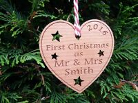 Personalised First Christmas as Mr & Mrs: Tree Decoration Heart Love 1st Gift