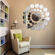 31Pcs Modern 3D Round Mirror Wall Sticker Decor Decal Art Mural Home Bathroom