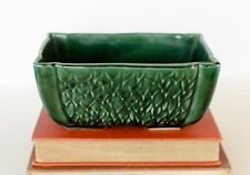 Vintage Art Pottery USA 76 Green Planter / Dish Rectangle Leaves Feathers