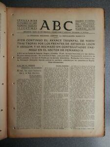 AVANCES FRENTE ASTURIAS LEÓN Y PEÑARROYA  PERIÓDICO GUERRA CIVIL 10/10/1937