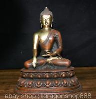 "10,4 ""Tibet Bouddhisme Rouge Cuivre Doré Shakyamuni Amitabha Bouddha Robe Statue"