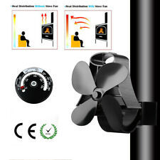 Heat Powered Wood Burning Stove Fan 4 Blades +Thermometer for Pipe Fan Chimney