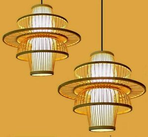 Bamboo Lamp Shade Handmade Light Shade Lamp Cover Handwoven Vintage Style 竹灯