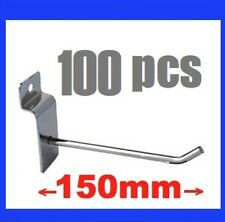 100x New Metal Slatwall Slat Wall Board Hooks 150mm