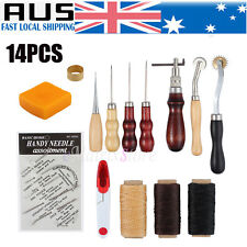 14x Leather Craft Tools Kit Hand Sewing Stitching Punch Carving Work Saddle AU