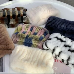 On Sale Real Rex Rabbit Fur Knit Circle Infinity Scarf Scarves Wraps Snoods Cowl