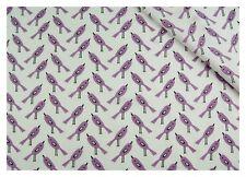 Tissu coton 100% imprimé coupon 50 x 160 cm, motif oiseaux lavande