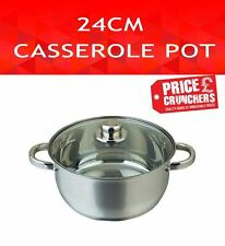Casserole Soup Dish Pot with Glass Lid Kitchen Cooking Pan Stew Pot 24 cm Steel