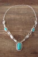 Navajo Jewelry Multi Turquoise Sterling Silver Necklace by Shorty