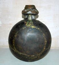 Old Antique India Iron Hand Forged Wood Corck Tribal Oil Pot Folk Art