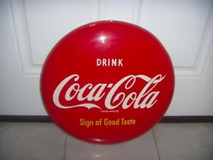 """VINTAGE 50`s Coca-Cola 16"""" Painted Advertising  Sign of Good Taste Button Sign"""
