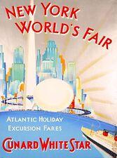 New York City World's Fair 1939 Cunard White Star Travel Advertisement Poster