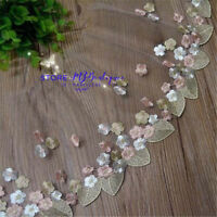 FP175 Floral Tulle Lace Trim Ribbon Fabric Flower Embroidery Wedding Trim Sewing