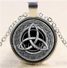 Celtic Trinity Knot Glass Cabochon Tibet Silver Pendant Necklace Chain Free Gift