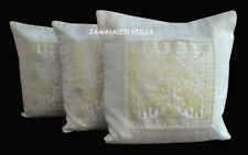 """Indian Cotton Handmade Silk Brocade Cushion Cover Set Of 3 Ethnic 16X16"""" Inches"""