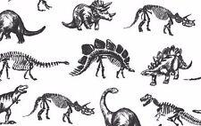 Dear Stella Fabric - Stellasaurus - Jurassic Dinosaur Skeletons- White - Cotton