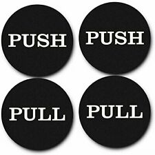 "2"" Round Push Pull Door Signs (Black) - 2 sets (4pcs)"