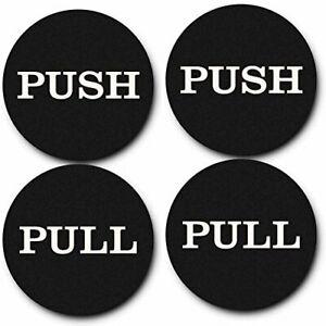 "2"" Round Push Pull Door Signs (Black) - 2 sets (4pcs)"