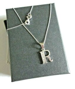 Stirling silver Initial *R* Pendant Necklace  *in a gift box*
