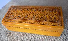 Vintage Folk Ethnic Wooden Wood Trinket Box Collectibles Home Decor handmade