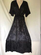 NEW LOOK BLACK FLORAL NEAR MAXI VINTAGE STYLE TEA DRESS SIZE 20 NEW