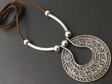 BROWN Long Suede STATEMENT necklace with an Antique Silver ETHNIC pendant