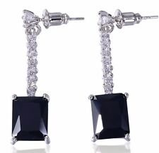 Black & Clear Cubic Zirconia Prong Pave Setting Dangle Square Earrings UK Shop