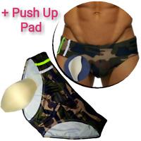 Herren Badehose Push Up mit 3D Pad Army Camo Schwimmhose Badeshort M L XL XXL