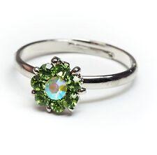 NUOVO Anello Fiore Strass Verde/Cristallo AB dimensioni regolabili Fiore Anello da donna