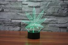 Hierba marihuana hoja 3D Lámpara 7 Colores Cambio USB LED Luz De Noche