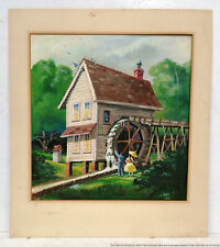 James Robe Matted Watercolor Painting Watermill Landscape Tampa Artist
