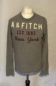 Abercrombie & Fitch Men's T Shirt Grey L/S Medium 100% Cotton