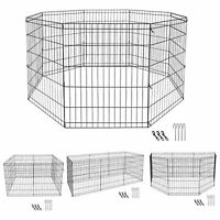 "30"" Heavy Duty Metal Dog Cat Fence Exercise Playpen Kennel 8 Panel Safe For Pet"
