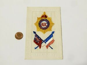 WW1 AOC Army Ordnance Corps Regiment Badge French Embroidered Silk Postcard #SP6