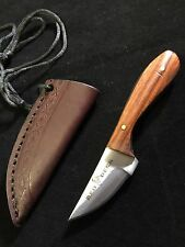 Custom Hand Made Brown Wood Handle Hunting Knives Leather Sheath Stainless Steel
